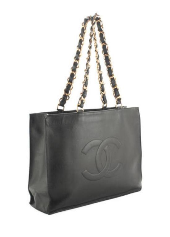 Chanel Black Lambskin Leather Gold Chain Shoulder Bag Shopper Tote 2