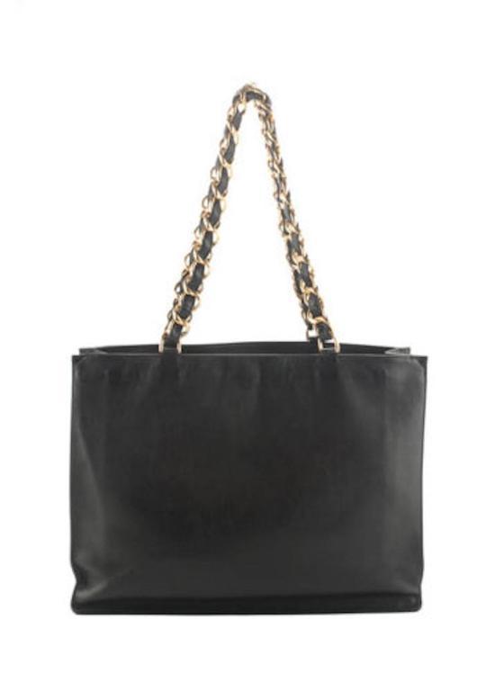 Chanel Black Lambskin Leather Gold Chain Shoulder Bag Shopper Tote 3