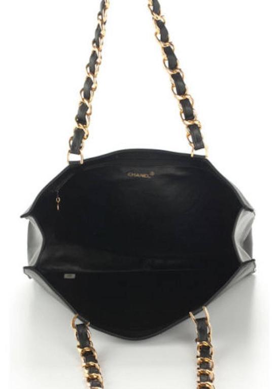 Chanel Black Lambskin Leather Gold Chain Shoulder Bag Shopper Tote 5