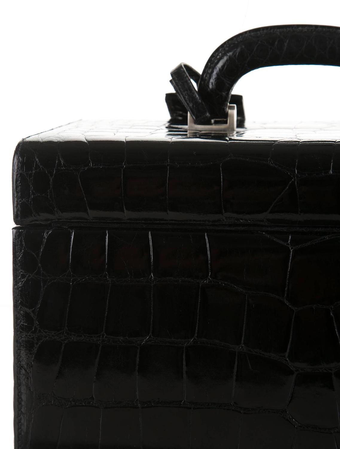 Prada Black Alligator Silver Hardware Vanity Top Handle Satchel ...