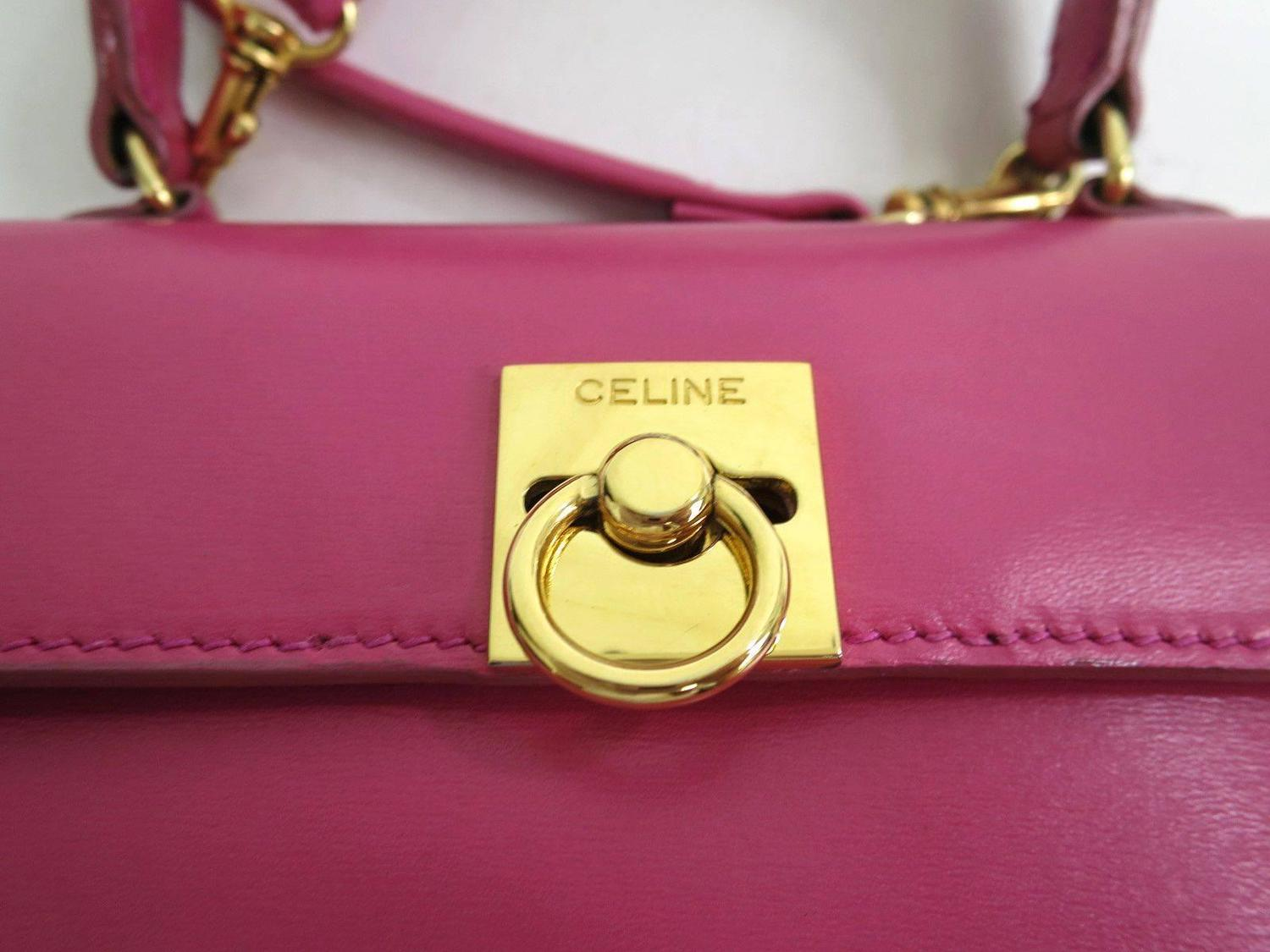Celine Pink Leather Box Kelly Top Handle Satchel Shoulder Bag at ...