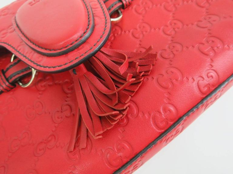 3ffcae8e Gucci Monogram GG Flap Red Leather Gold Chain Crossbody Shoulder Bag