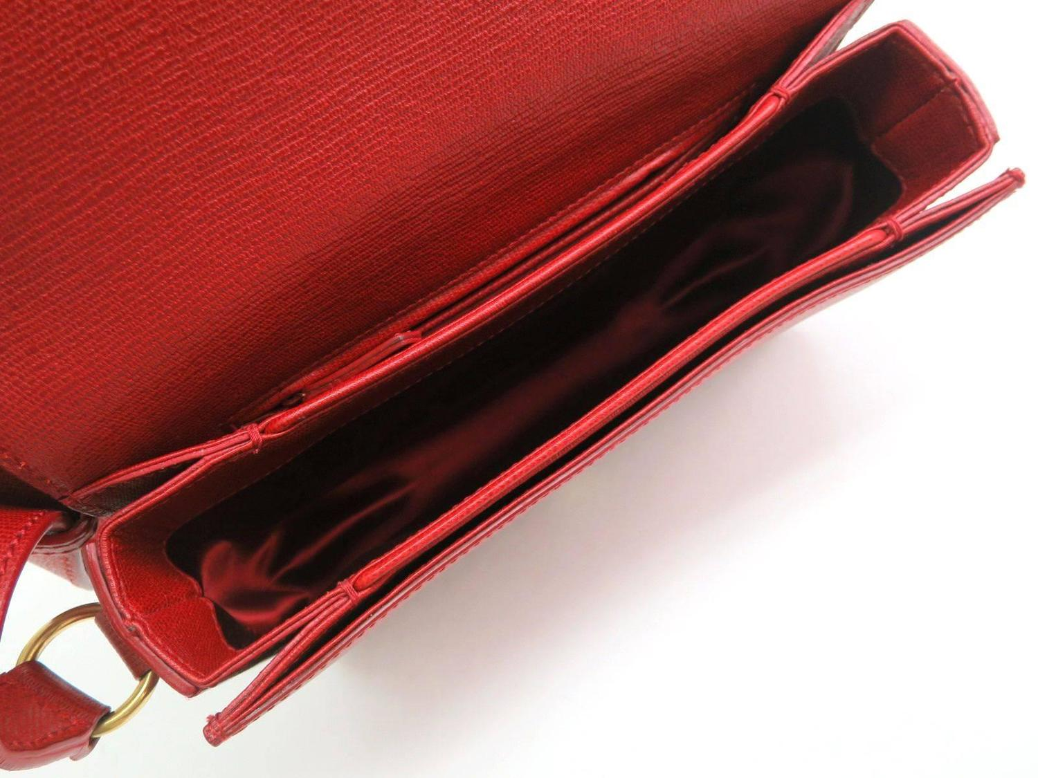 Yves Saint Laurent (YSL) Chyc Y Red Leather Gold Hardware ...