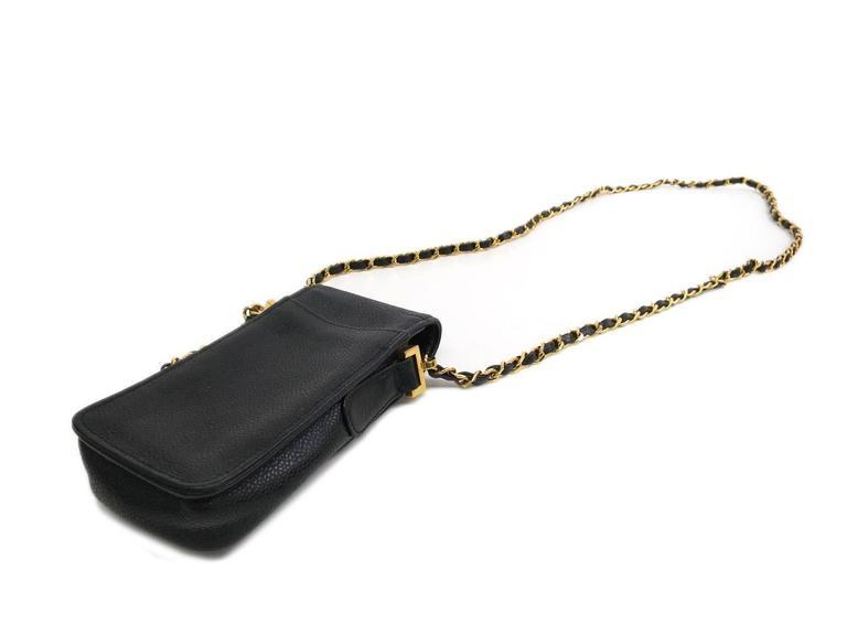 17745442fe7a Women's Chanel Black Caviar Leather Gold Hardware Phone Case Crossbody  Shoulder Bag For Sale