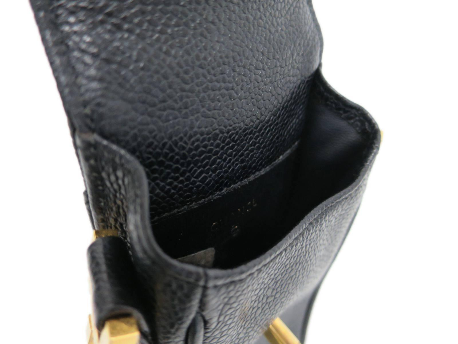 c763725b7be6 Chanel Black Caviar Leather Gold Hardware Phone Case Crossbody Shoulder Bag  at 1stdibs