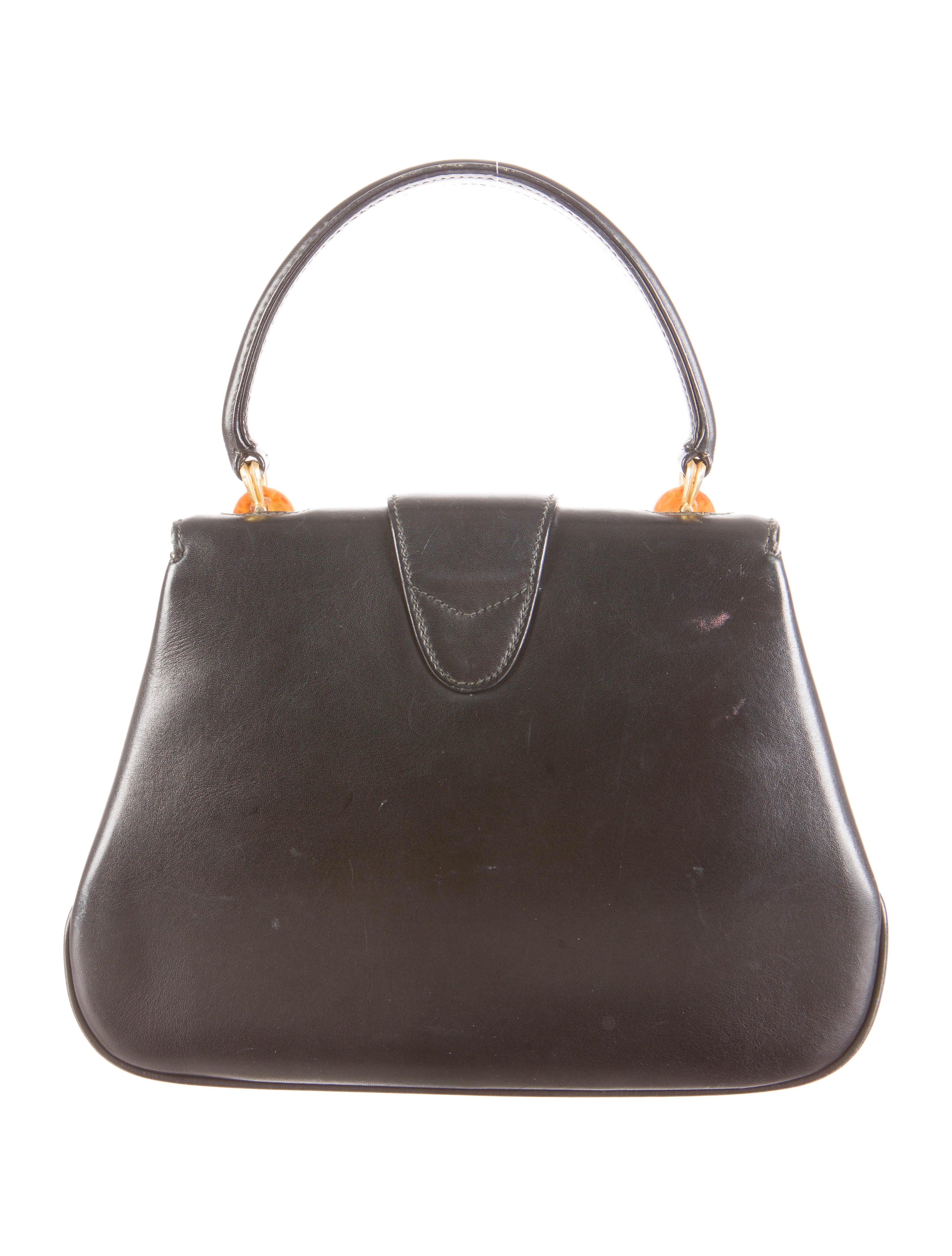 a3199b9846ca Gucci Vintage Black Leather Resin Turn Lock Top Handle Satchel Bag at  1stdibs