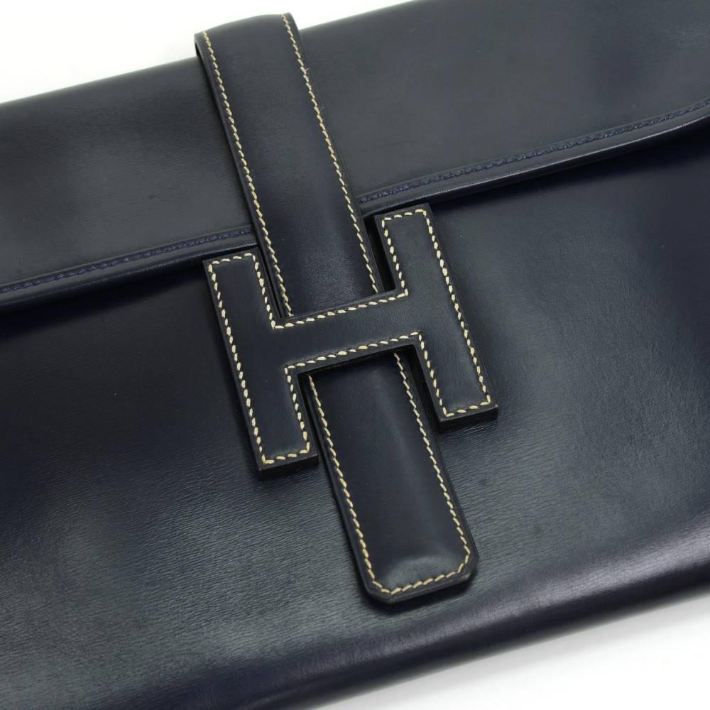 Hermes Navy Blue Leather Flap \u0026#39;H\u0026#39; Jige Clutch Bag at 1stdibs