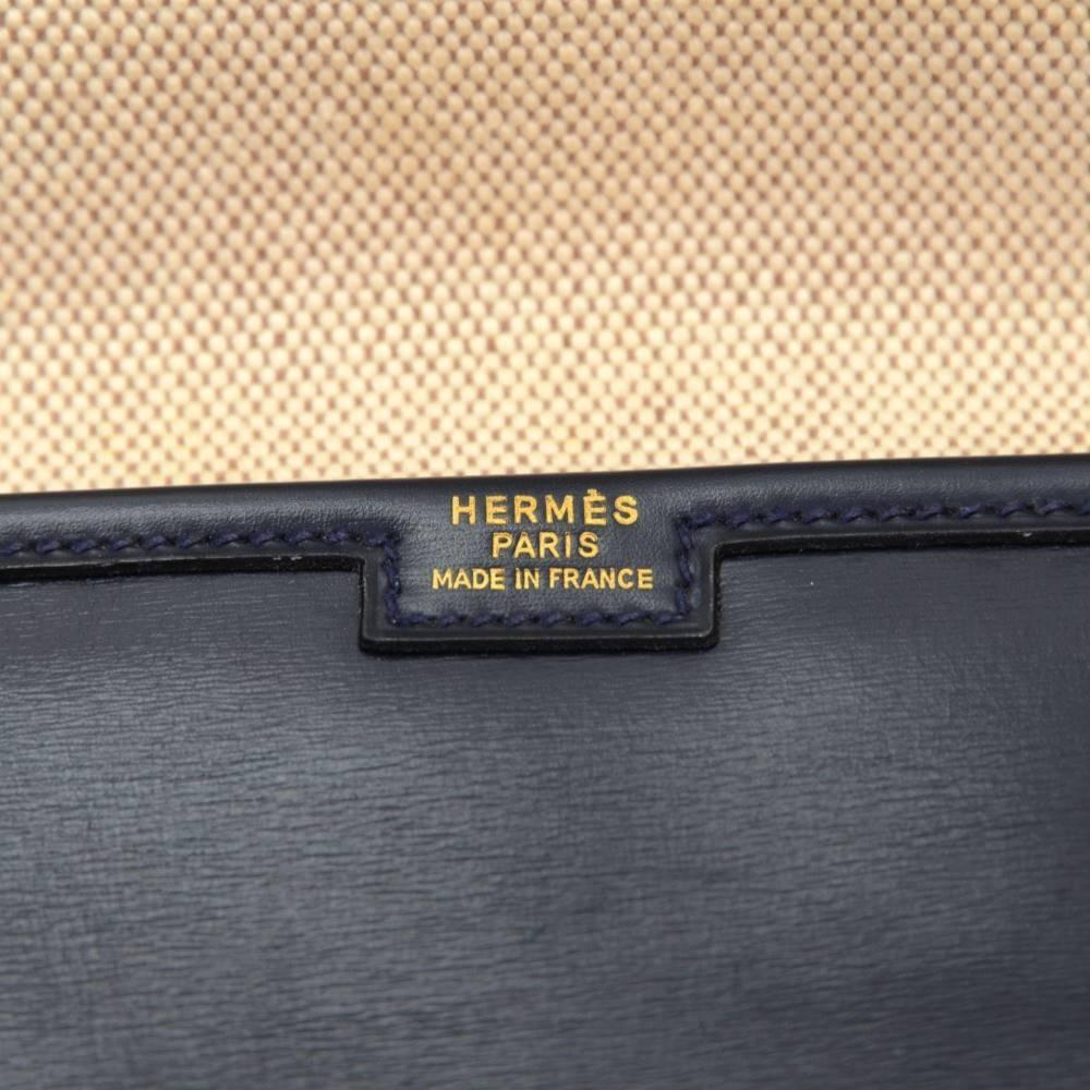 hermes navy leather clutch bag jige