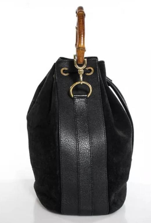 Gucci Black Leather Brown Bamboo Gold Hardware Bucket Top