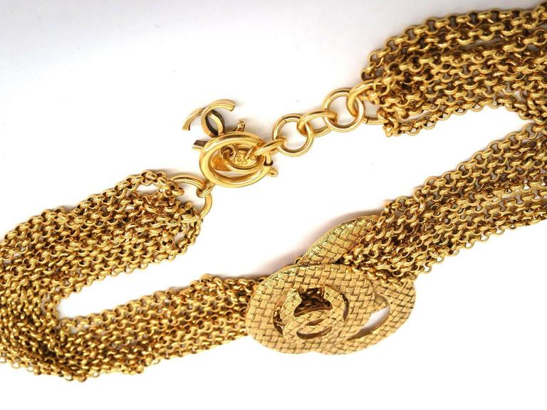 Chanel Vintage Gold Multi Strand Chain Link CC Charm Choker Necklace 3