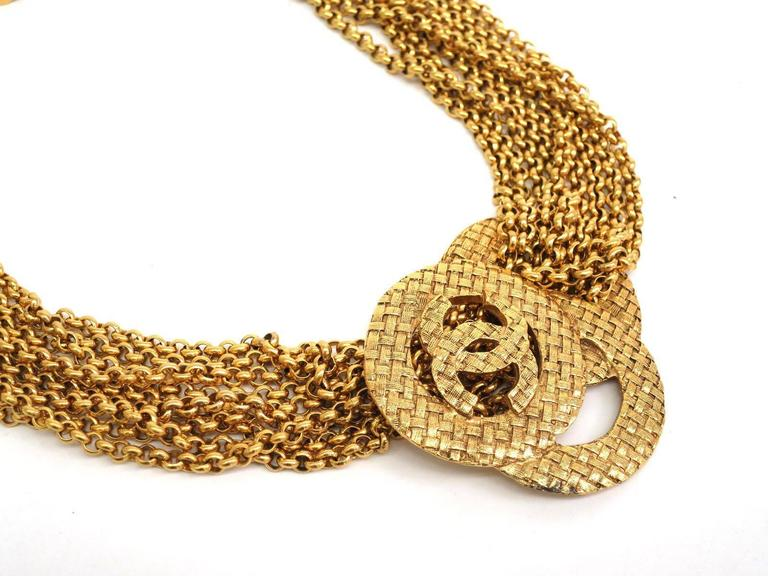 Chanel Vintage Gold Multi Strand Chain Link CC Charm Choker Necklace 1