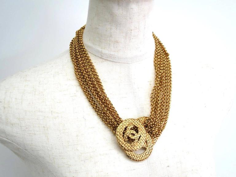 Chanel Vintage Gold Multi Strand Chain Link CC Charm Choker Necklace 2