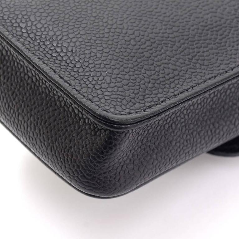 Chanel Rare Black Caviar Leather CC Logo Cell Phone Mini Crossbody Shoulder Bag 1