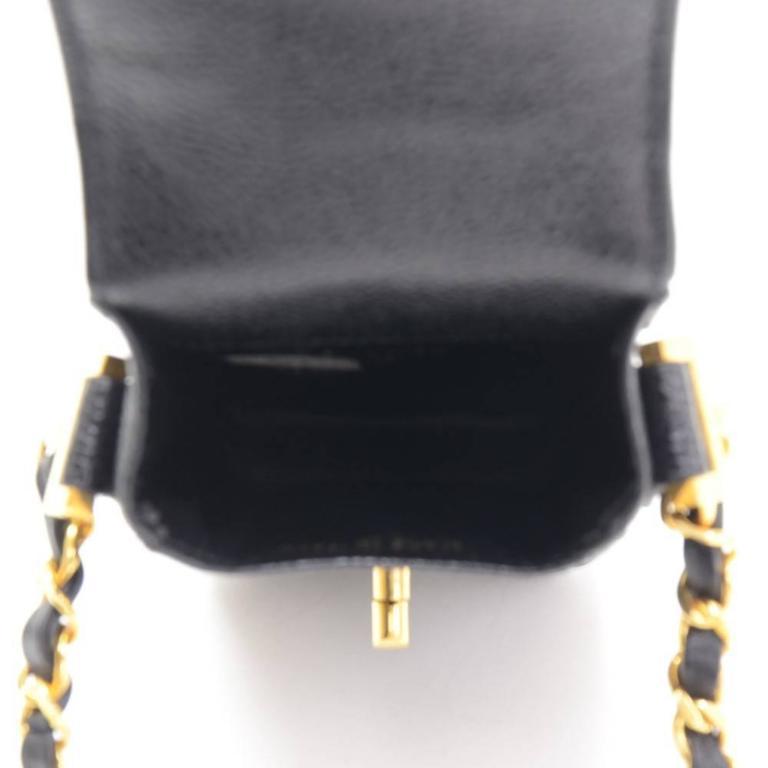 Chanel Rare Black Caviar Leather CC Logo Cell Phone Mini Crossbody Shoulder Bag 3