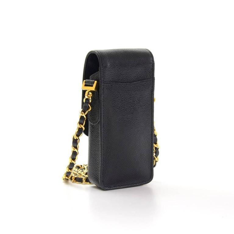 1da34e7ddb2b Chanel Rare Black Caviar Leather CC Logo Cell Phone Mini Crossbody Shoulder  Bag In Excellent Condition
