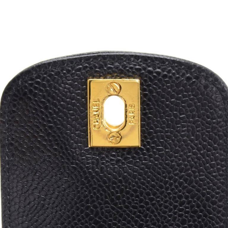 Chanel Rare Black Caviar Leather CC Logo Cell Phone Mini Crossbody Shoulder Bag 2