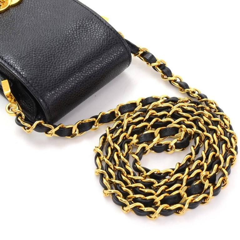 Women's Chanel Rare Black Caviar Leather CC Logo Cell Phone Mini Crossbody Shoulder Bag