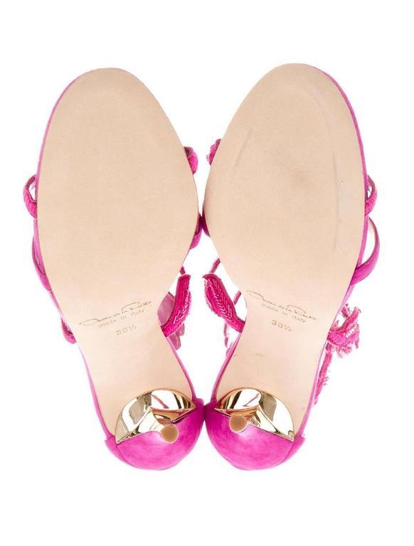 Oscar de la Rental NEW Pink Suede Bead Floral High Heels Sandals in Box 4