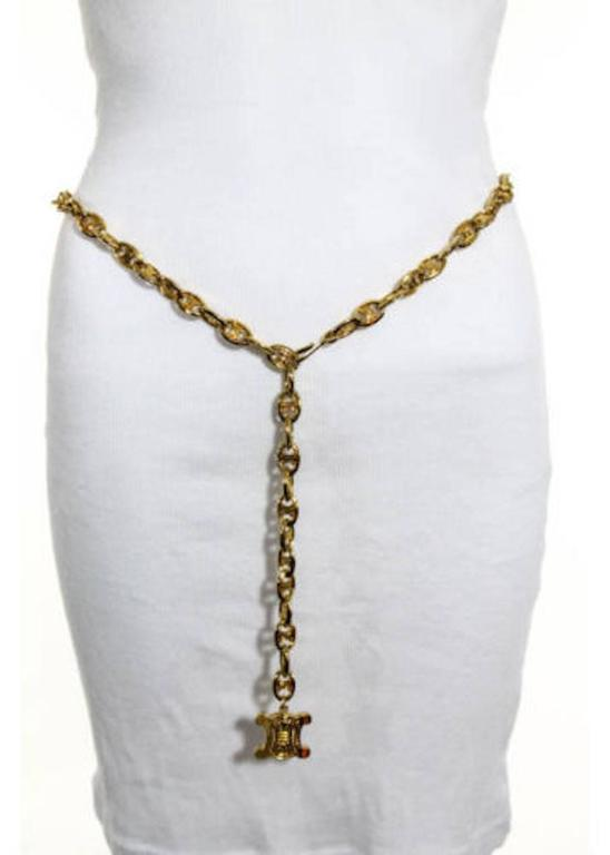 Women's Celine Vintage Gold Logo Chain Link Charm Waist Belt  For Sale