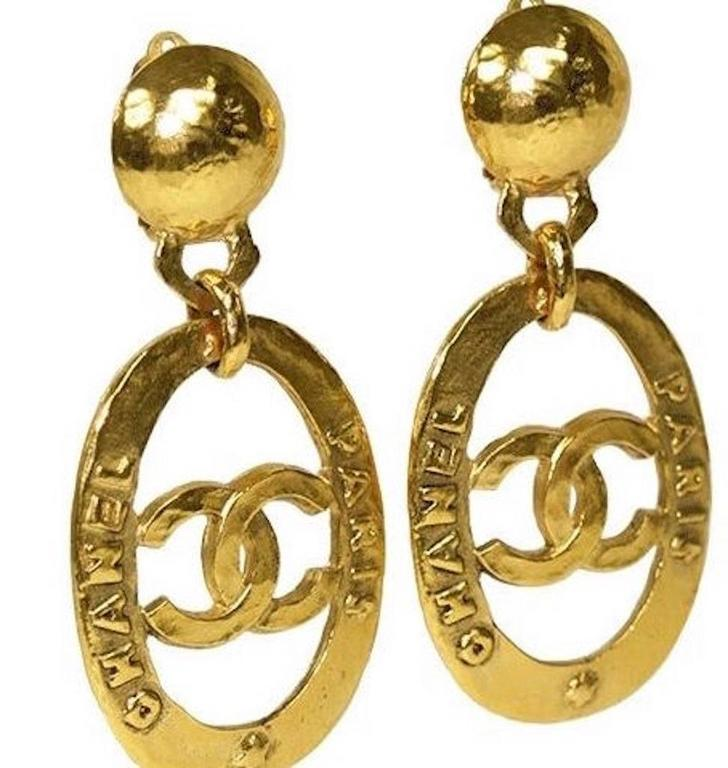 99211c3b2d4e1 Chanel Vintage Gold Large CC Chanel Paris Doorknocker Round Hoop Earrings  in Box
