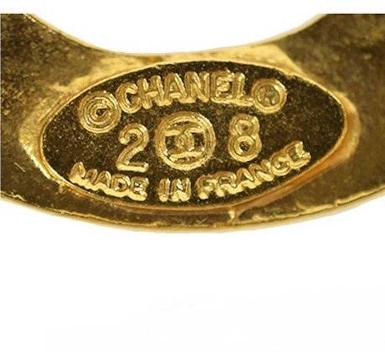 Chanel Vintage Gold Large CC Chanel Paris Doorknocker Round Hoop Earrings in Box 1