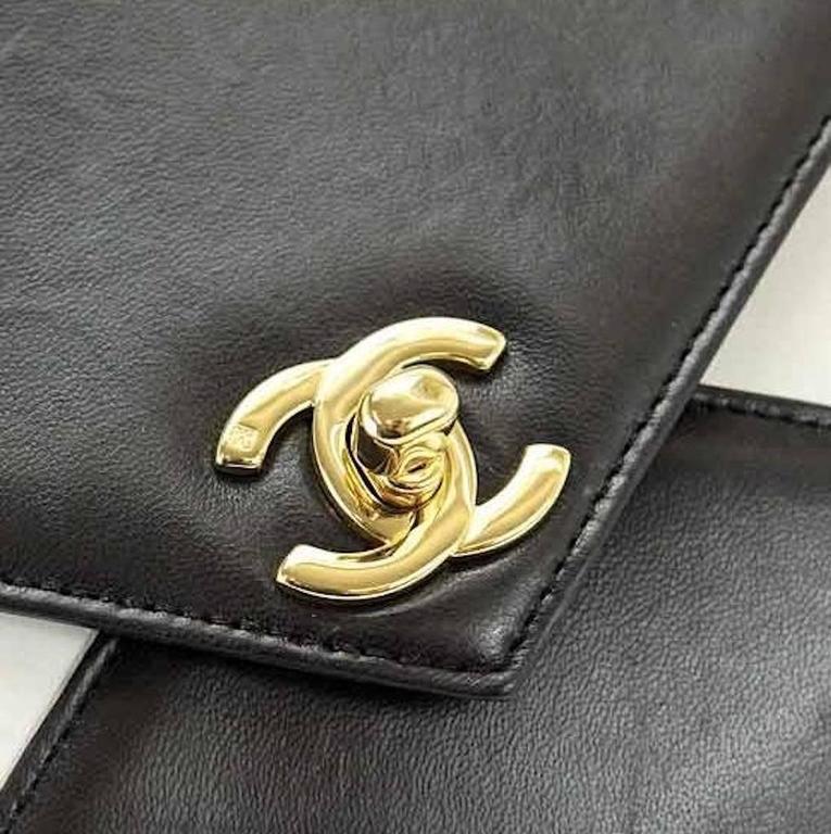 Chanel Black Ivory Colorblock Leather Gold Flap Envelope Clutch Shoulder Bag 2