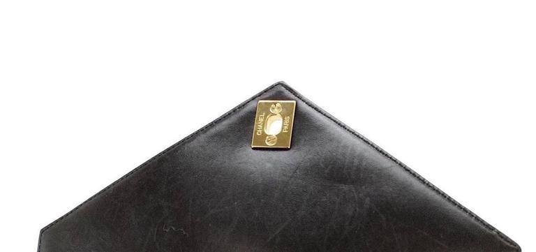 Chanel Black Ivory Colorblock Leather Gold Flap Envelope Clutch Shoulder Bag 4
