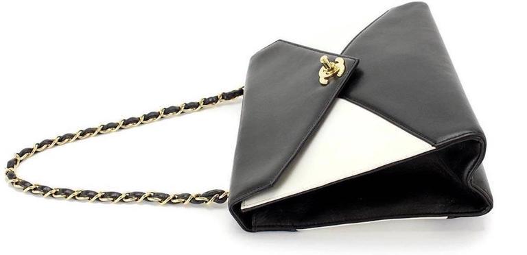 Chanel Black Ivory Colorblock Leather Gold Flap Envelope Clutch Shoulder Bag 3