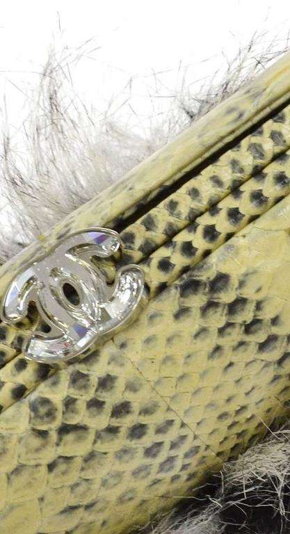 Chanel Rare Nude Fantasy Fur Crystal CC Evening Chain Shoulder Clutch Bag 2
