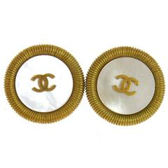 Chanel Vintage Gold Textured Metal Mother of Pearl Plated Round Stud Earrings