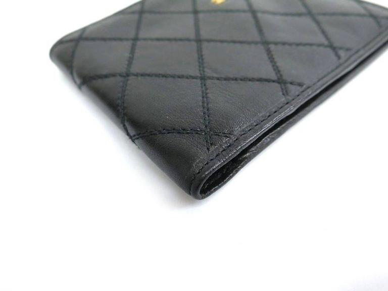 chanel black leather gold hardware mens wallet at 1stdibs