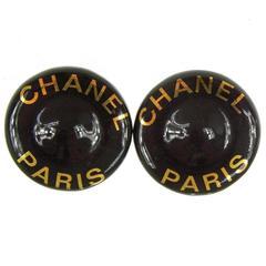 Chanel Vintage Enamel Gold 'CHANEL PARIS' Round Stud Earrings