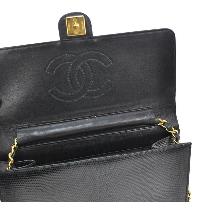 Chanel RARE Black Lizard Gold Evening Flap Shoulder Bag For Sale 3