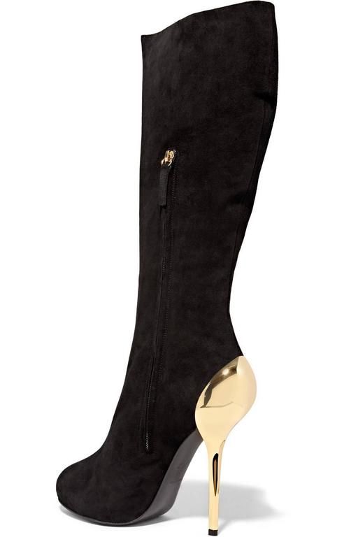 Giuseppe Zanotti NEW & SOLD OUT Black Suede Gold Metal Knee High Boots in Box 3