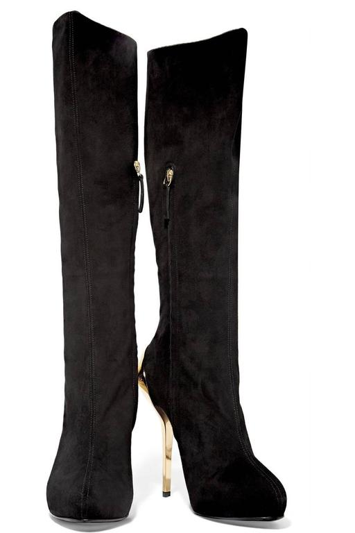 Giuseppe Zanotti NEW & SOLD OUT Black Suede Gold Metal Knee High Boots in Box 2