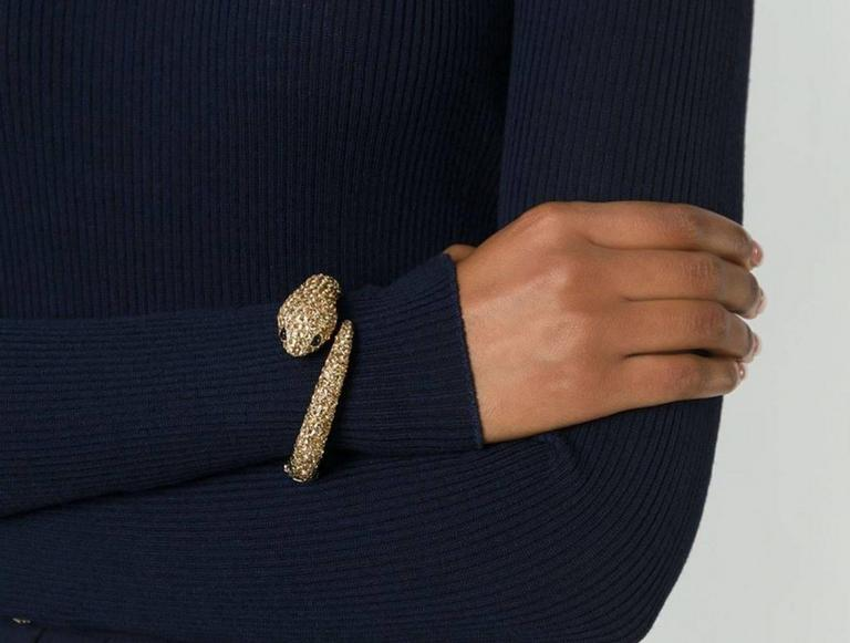 Roberto Cavalli NEW & SOLD OUT Gold Swarovski Crystal Snake Cuff Bangle in Box 2