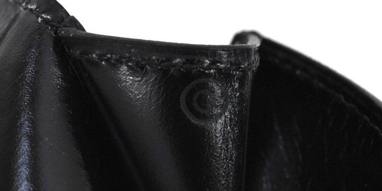 Hermes Vintage Black Leather Gold Logo Evening Envelope Flap Clutch Bag in Box 7