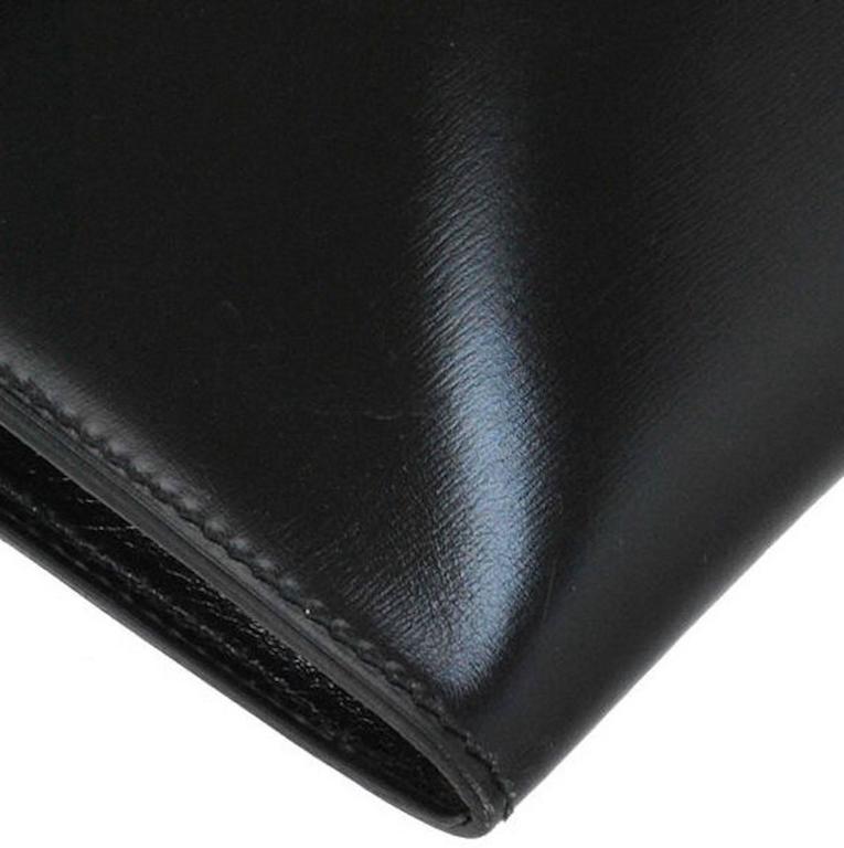 Hermes Vintage Black Leather Gold Logo Evening Envelope Flap Clutch Bag in Box 5