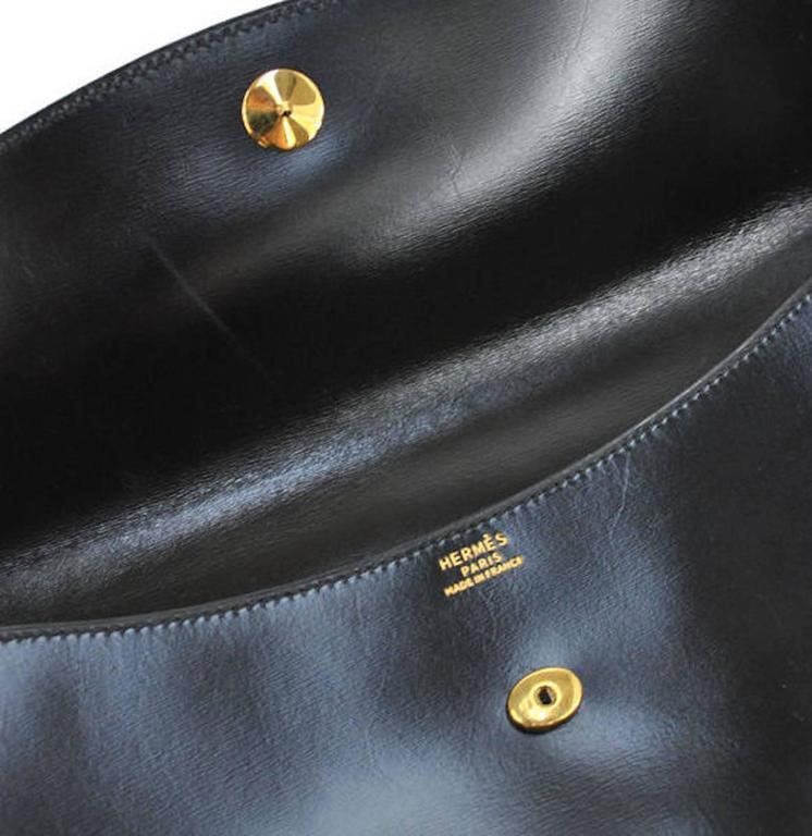 Hermes Vintage Black Leather Gold Logo Evening Envelope Flap Clutch Bag in Box 2