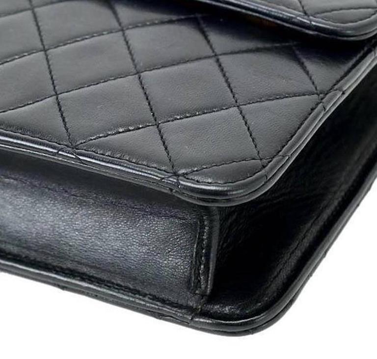 Chanel Vintage Black Lambskin Dual Turnlock Top Handle Satchel Shoulder Flap Bag 6