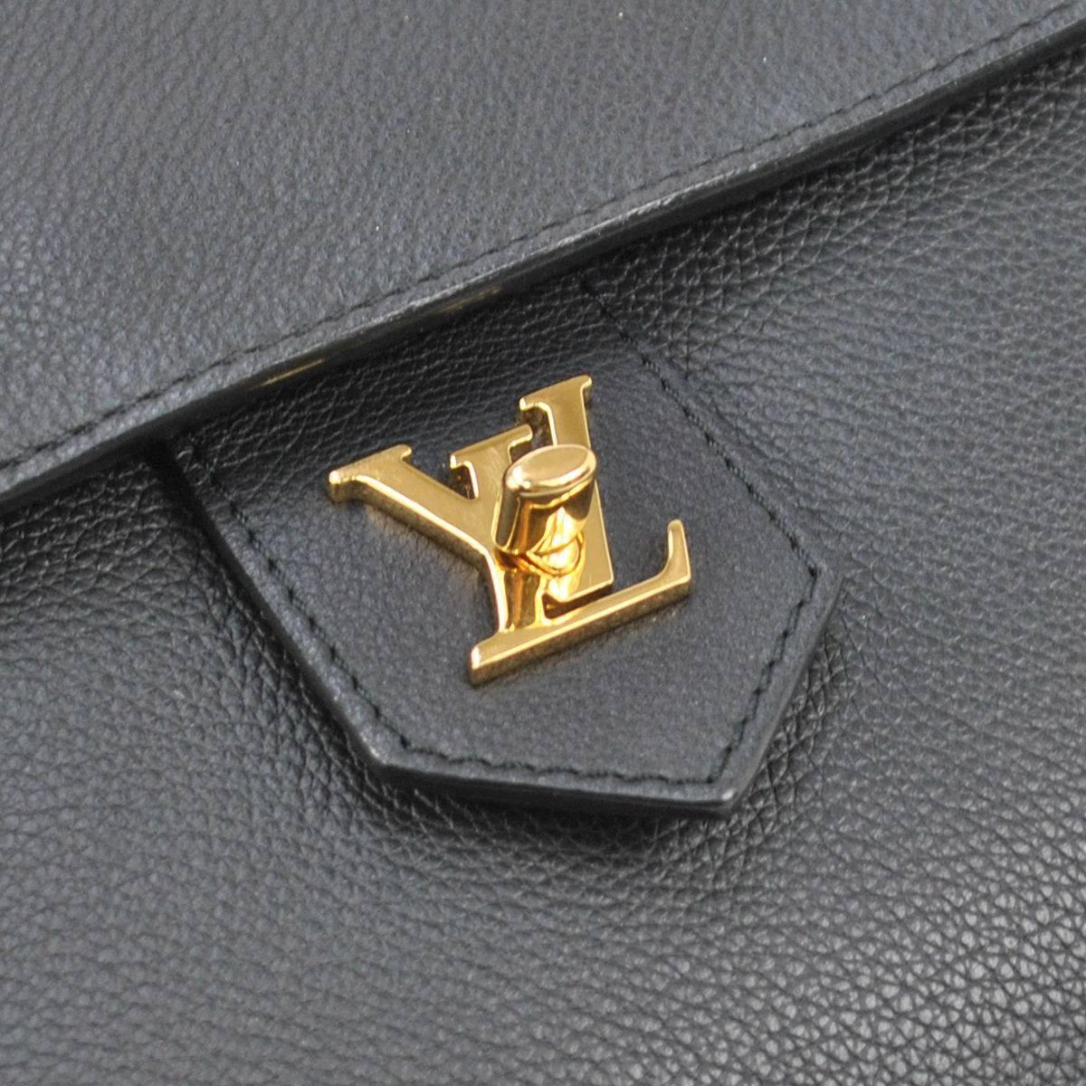 Louis Vuitton Ltd Edition Black Leather Gold Logo Top ...
