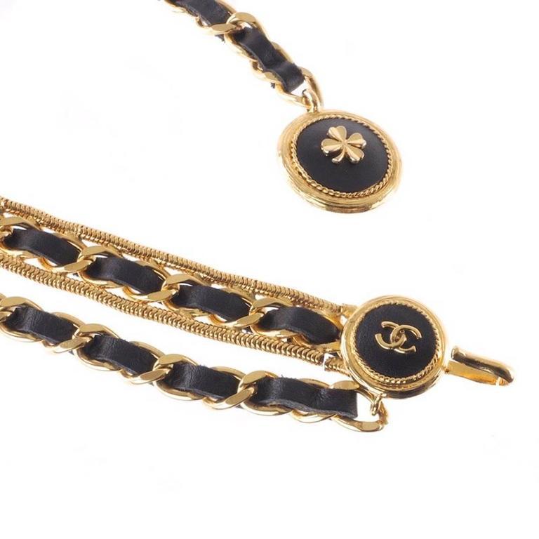 Chanel Rare Vintage Gold Charm Medallion Coin Leather Multi Chain Waist Belt 2