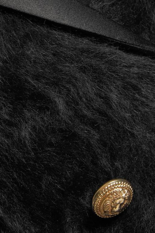 Balmain NEW Black Angora Gold Button Satin Evening Tailored Dinner Jacket Blazer 3