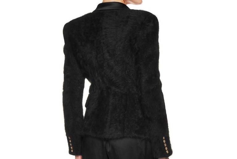 Balmain NEW Black Angora Gold Button Satin Evening Tailored Dinner Jacket Blazer 4