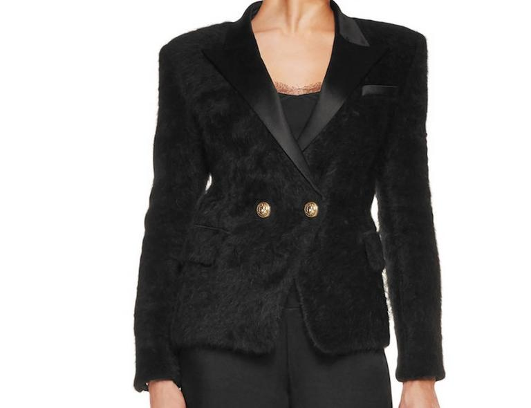Balmain NEW Black Angora Gold Button Satin Evening Tailored Dinner Jacket Blazer 2