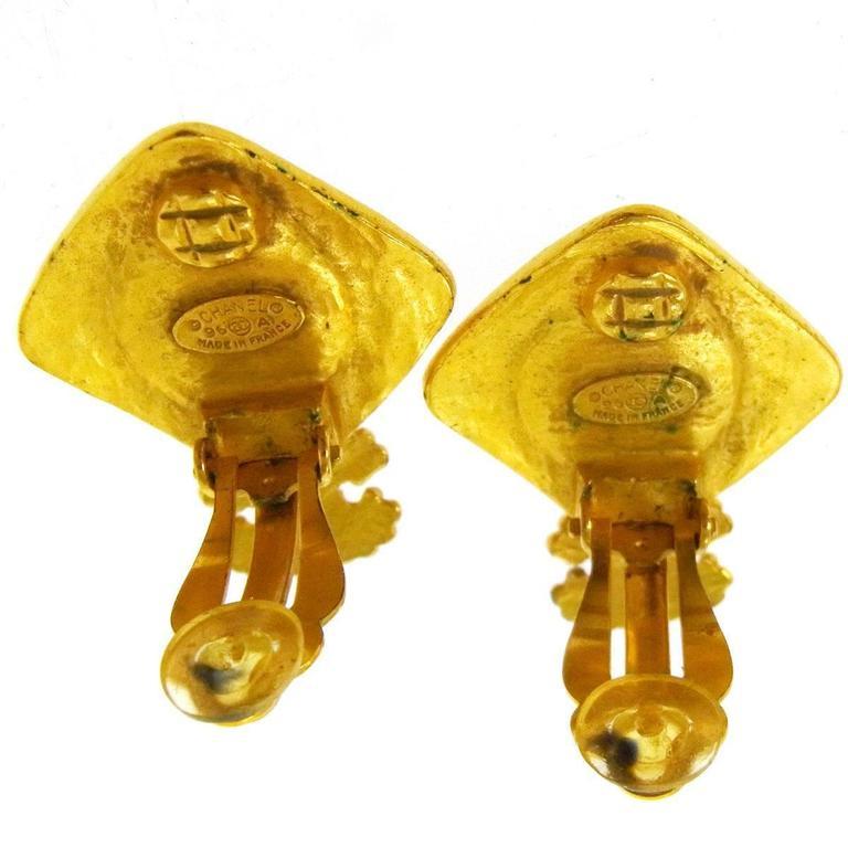 Chanel Vintage Gold Charm Black Glass Evening Dangle Drop Earrings 2