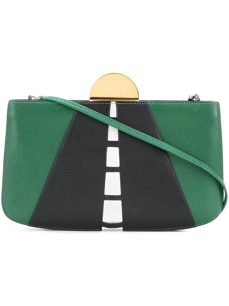 Hermes Rare Vintage Leather Road Kisslock 2 in 1 Evening Clutch Shoulder Bag 2