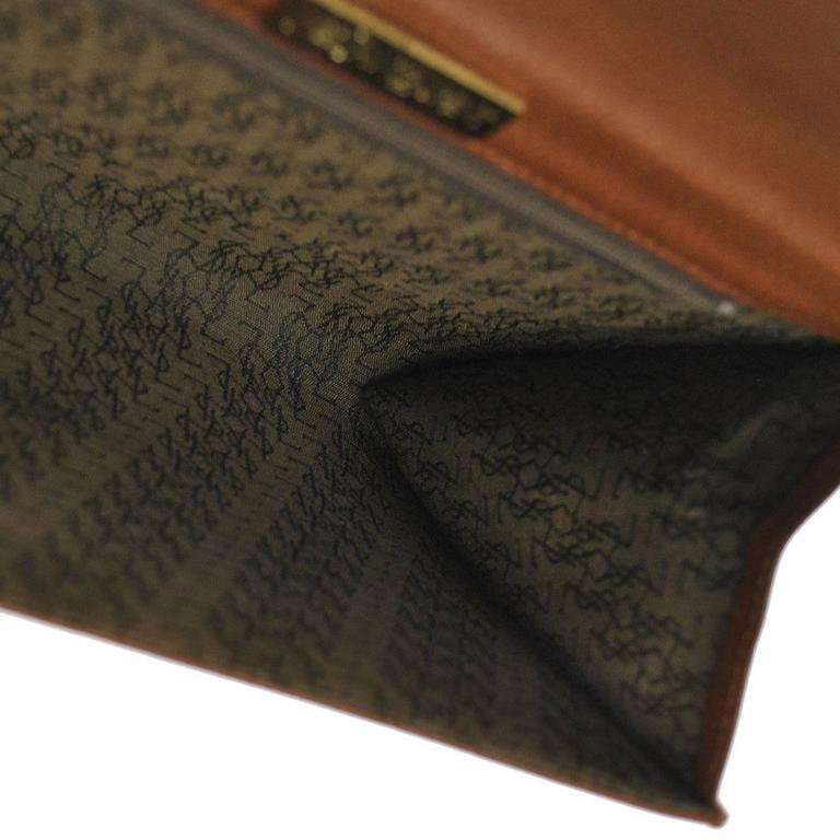 Ysl Cognac Leather Gold Hardware Envelope Top Handle