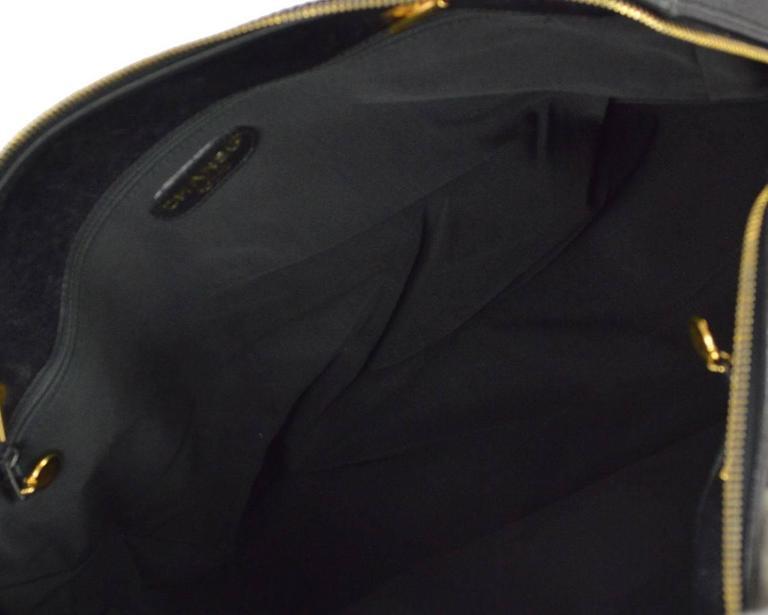 Chanel Vintage Black Caviar Leather Oversize Weekender Travel Tote Bag 6