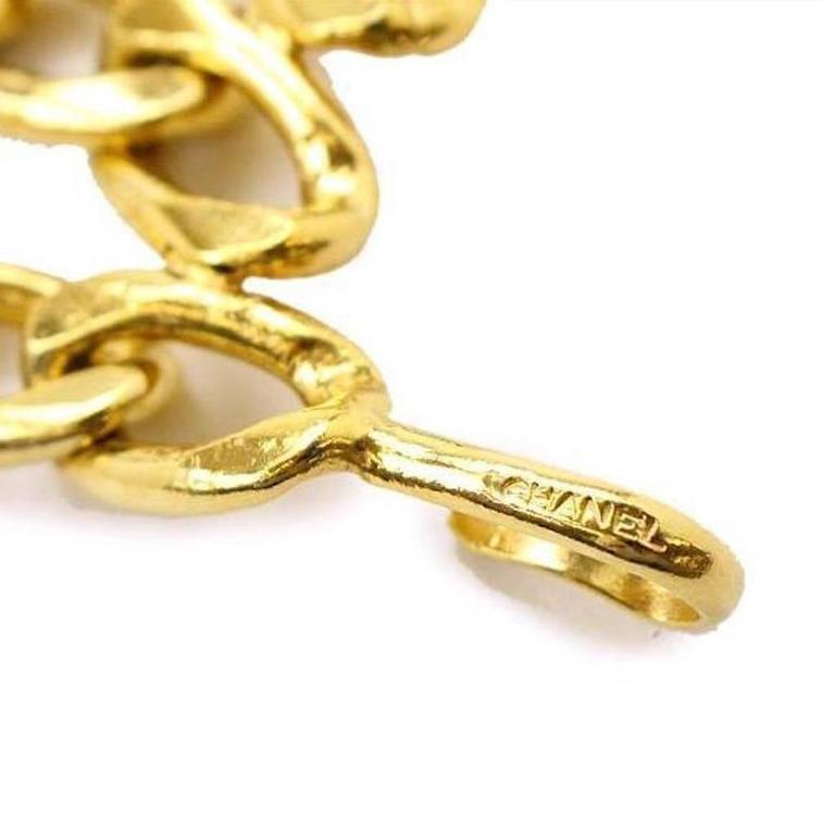 Chanel Vintage Gold Multi Strand Link Medallion Charm Waist Belt 4